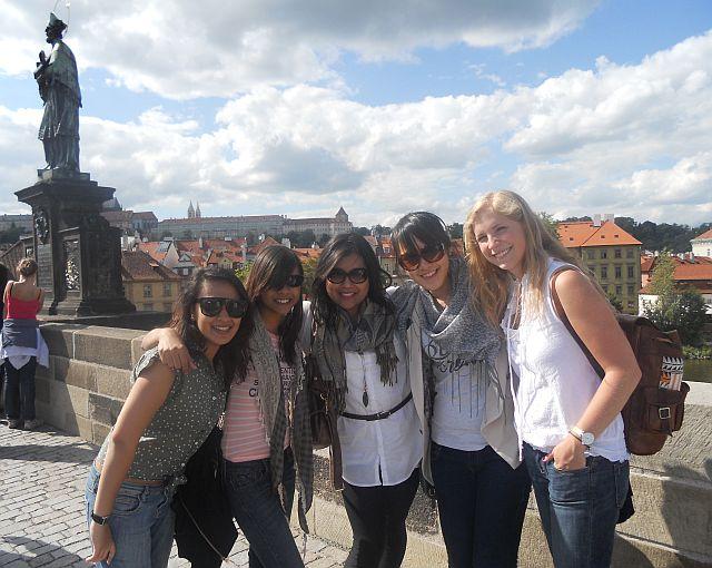 AIESEC girls on Charles Bridge, Prague