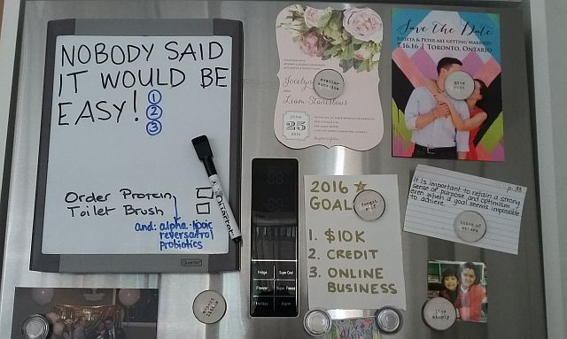 A picture of my fridge at home with goals posted.