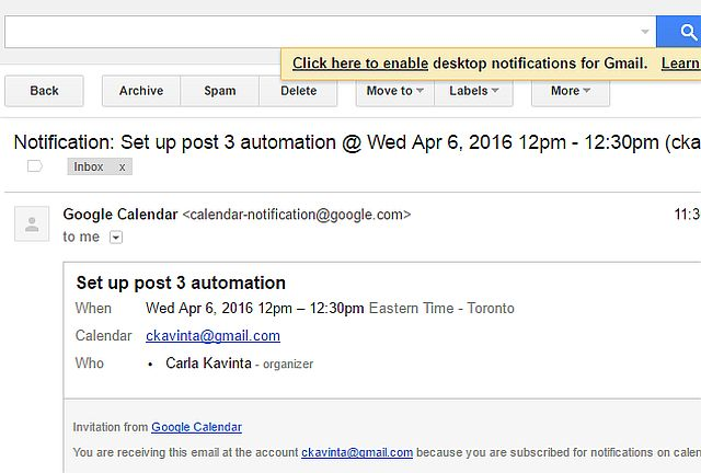 Screenshot of Google Calendar notification