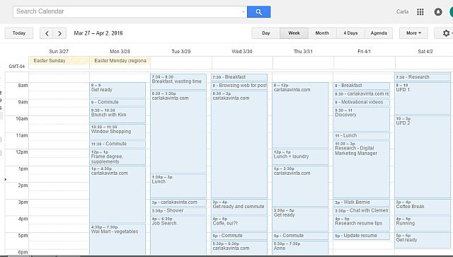 Screenshot of my Google Calendar