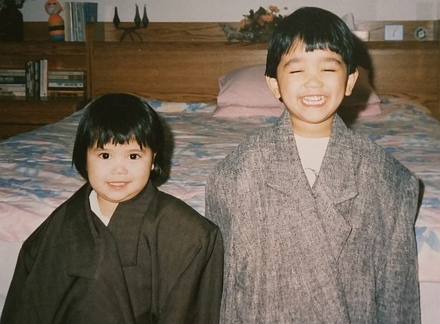 My brother and me dressed up in dad's suit jackets