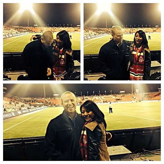 Mike and me at a Toronto Football Club game , Toronto, Canada