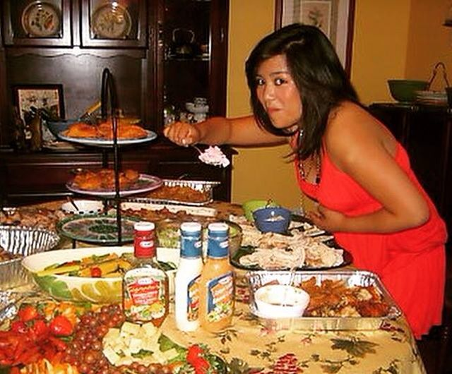 Me on my 18th birthday rewarding myself with a table of food