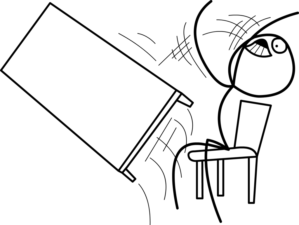 Cartoon drawing of a person flipping a desk