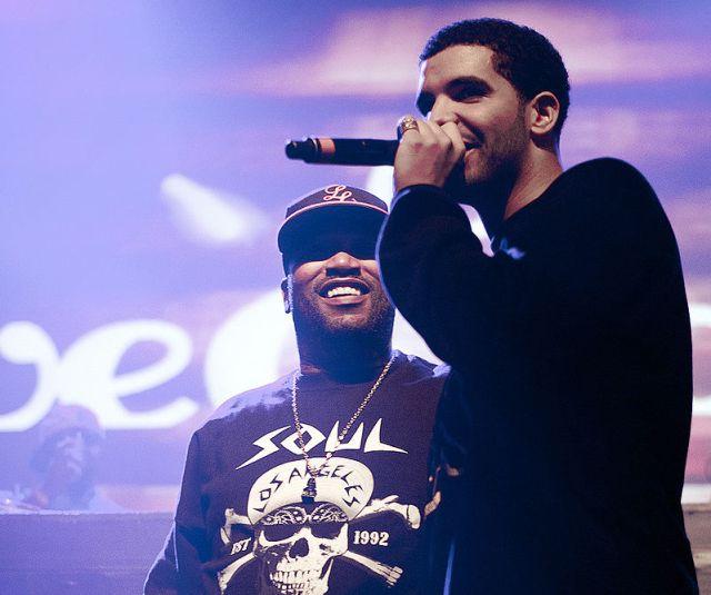 Drake performing at a concert