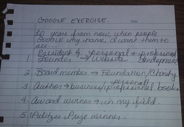 Picture of a page from my notebook with the google search exercise