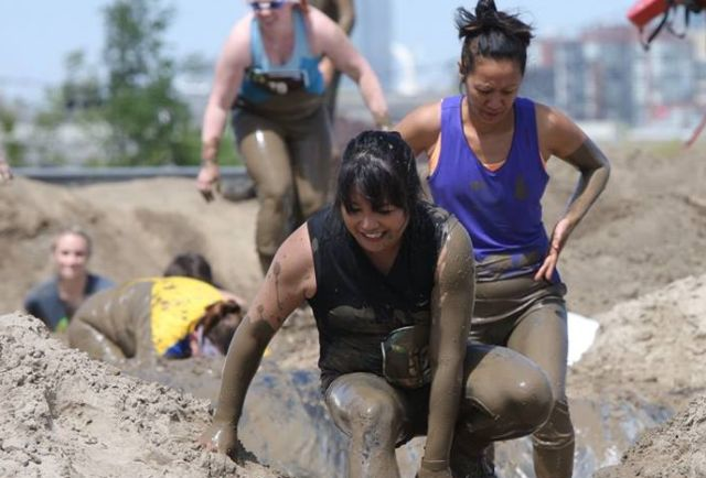 Me in a giant mud pit at the Mud Run in 2015, Toronto, Canada