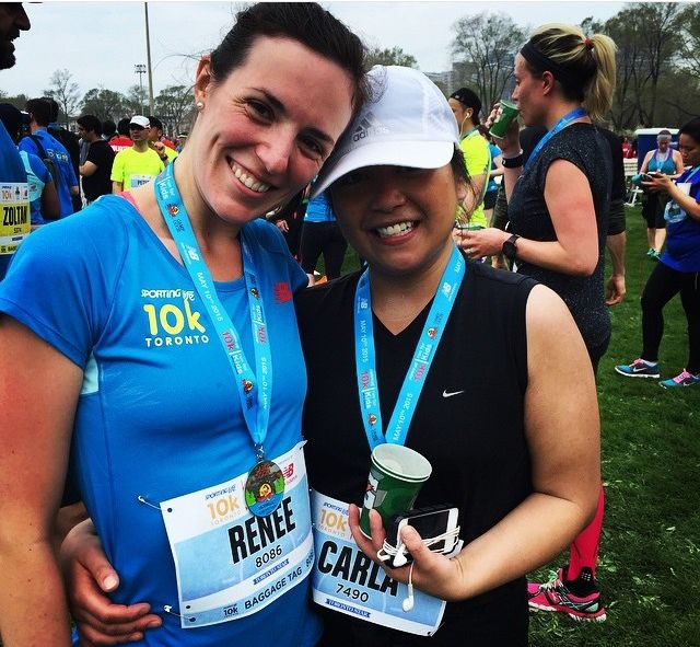 My close friend Renee and me at the Sporting Life 10K Run 2015, Toronto, Canada